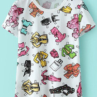 White Clothes Print Short Sleeve Graphic T-Shirt