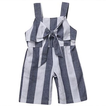 Summer Sleeveless Romper Girls Kid Baby Bow-knot Strip Jumpsuit Clothes Newborn Outfits