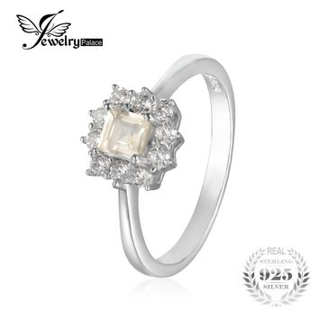 JewelryPalace Classic 0.65 ct Square Natural Lemon Quartz Ring Real 925 Sterling Silver Engagement Ring For Women Fine Jewelry