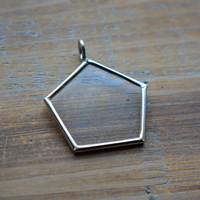 SILVER Glass Pane Pendant PENTAGON Shape Single Sided Glass Picture Frame Pendant Charm Jewelry Pendant (BD045)