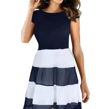 It's a Beautiful Day Black and White Pleated Chiffon Dress