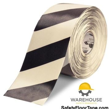 "6"" White Tape with Black Chevrons - 100'  Roll"