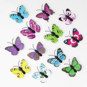 Hot sale 100 Pieces 3D PVC Artificial Butterfly Decor For Home DIY Christmas Wedding Decoration Free Shipping