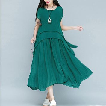 Women Dress Short Sleeve O Neck Cotton Linen Dress Solid Color Casual Loose Long Dress Plus Size Women Clothing Vintage Dress