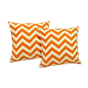 Set of 2 Orange Chevron Pillows - Cotton Covers and/or Cushions - 14x14, 16x16, 18x18, 20x20