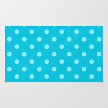 Aqua Blue Polka Dots Area & Throw Rug by KCavender Designs