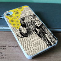 Elephant with sunflowers for iPhone 4, 4S, 5, 5S, 5C and Samsung Galaxy S3 & S4, ipod 4and ipod 5