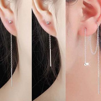 Silver Simple Design Beanie 925 Tassels Korean Earrings [36656807943]