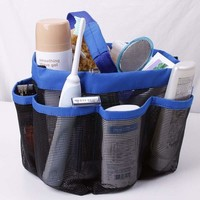 Quick Dry Storage Bags Hanging Mesh Bathroom Bag Shower Tote Caddy Cosmetics Organizer with 8 Pockets Portable Bath Bags