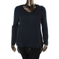 Style & Co. Womens Sheer Bottom Long Sleeves Sweater