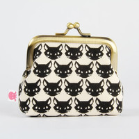 Metal frame change purse - Kitties on black - Deep mum / Cute dark cats faces / halloween / neon pink geometric