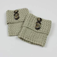 Fold Over Button Knit Boot Cuffs