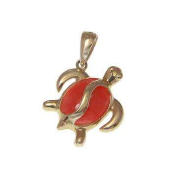 GENUINE NATURAL PINK CORAL PENDANT HAWAIIAN HONU TURTLE SOLID 14K YELLOW GOLD