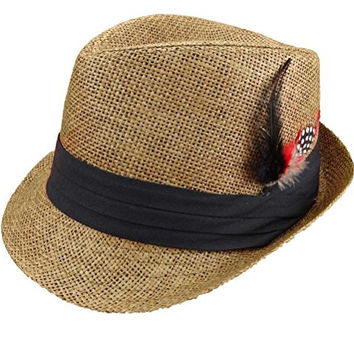 Trilby Fedora Hats Straw with Feather for Mens Fashion (Large, Coffee)