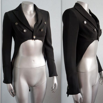 Moschino funny tuxedo jacket black tail coat white clocks buttons medium size