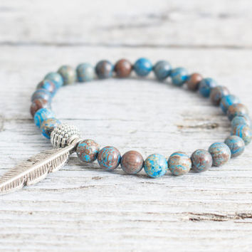 Blue crazy lace agate beaded stretchy bracelet with a feather, made to order yoga bracelet, mens bracelet, womens bracelet