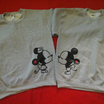 Super Cute Kissing Mickey And Minnie inspired Disney Couple Sweatshirts Set of 2 MIckey and MInnie Couple Shirts