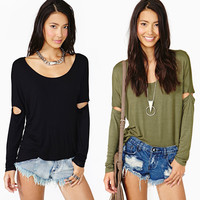 Scoop Neck Cutout Long Sleeves Loose Top