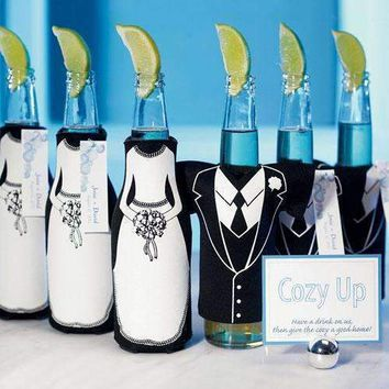 Bride or Groom Koozie Bottle Holder Favour Wedding Dress Zippered (Pack of 1)