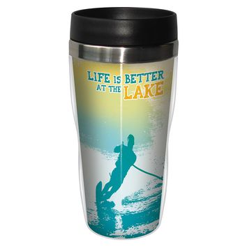 Better At The Lake Artful Travel Mug - Premium 16 oz Stainless Lined w/ No Spill Lid