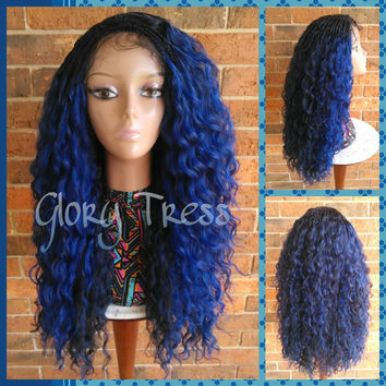 Ready To Ship // Micro Braided Lace Front Wig, Long Kinky Curly Hand-Braided Wig, Ombre Blue Wig // PLENTIFUL