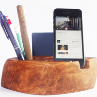 Wooden Desk Organizer, Rustic iPhone holder, Office organizer, iPhone Stand, Desk Organizer, Wooden Pen Holder, Wooden Business Card Holder