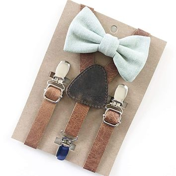 Sage Green Baby & Toddler Bow Tie w/Leather Suspenders - FINAL SALE