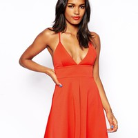 Oh My Love Plunging Skater Dress With Box Pleat -