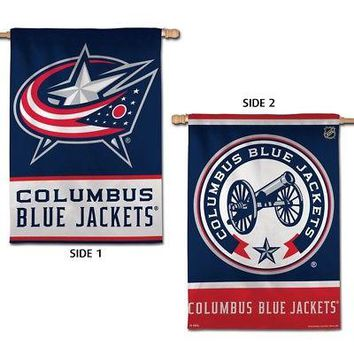 "COLUMBUS BLUE JACKETS LOGO 28""X40"" DOUBLE SIDED BANNER FLAG BRAND NEW WINCRAFT"