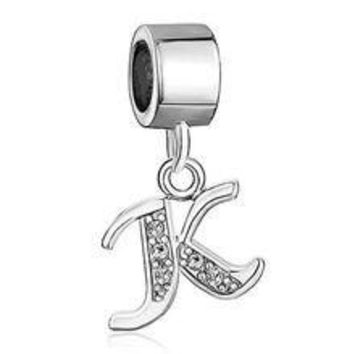 Hoobeads Authentic 925 Sterling Silver Letter Initial Az Dangle Alphabet Crystal Bead Charms Fits Pandora Charms Bracelet