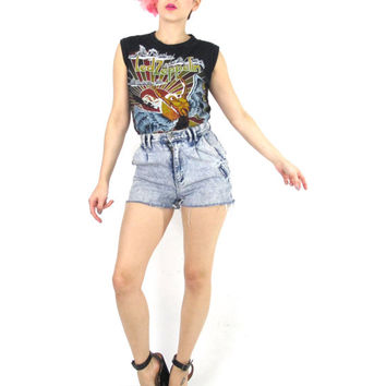 Vintage Led Zeppelin Tshirt 70s Rock Band Tee US Tour Sleeveless Tank Top Swan Song Records Graphic Womens Screen Printed Crop Top (XS/S)