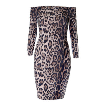 Off Shoulder Midi Dress, Animal Print