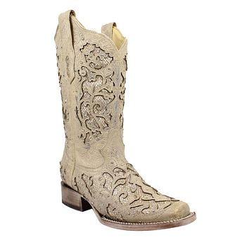 Corral White Glitter Inlay & Crystals Square Toe Boots