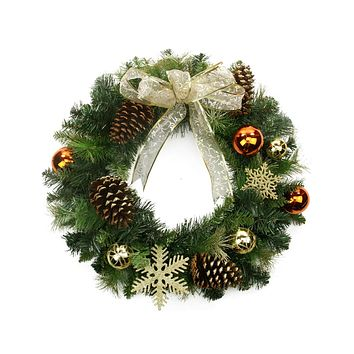 "24"" Pre-Decorated Copper and Gold Ball Ornaments and Bow Artificial Christmas Wreath - Unlit"
