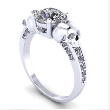 Ladies Skull Engagement Ring