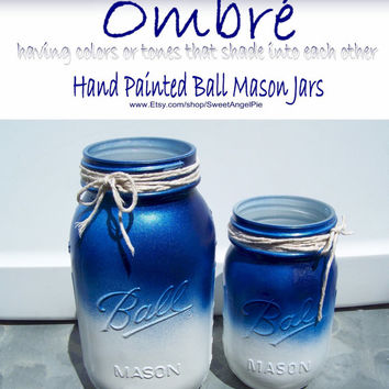 Hand Painted Mason Jars in Navy Blue Ombré // Quart & Pint Ball Mason Jars // Rustic Decor // Patriotic Decor // Shabby Chic Cottage