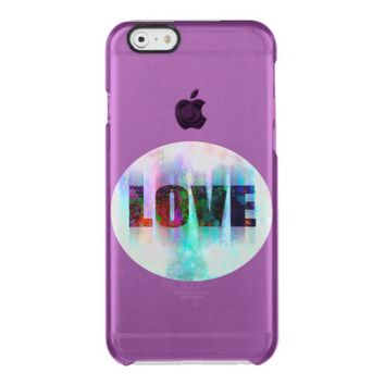 love colorful text design on purple clear iPhone 6/6S case