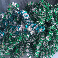 Vintage Foil Garland Green Aqua Christmas Holiday Ornaments