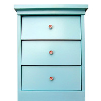 Nightstand Upcycled Mid Century Modern Aqua Blue Painted
