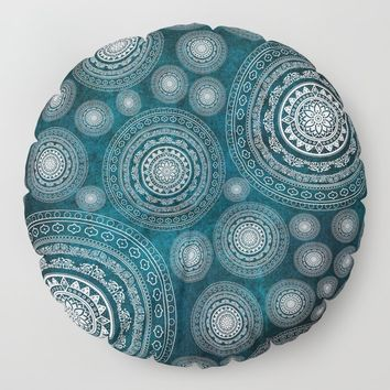 Multi-Mandala Blue Floor Pillow by inspiredimages