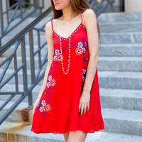 Dolce Flora Tank Dress - Red
