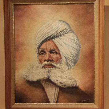 "1950-1969 Original VINTAGE OIL PAINTING The Punjab Patriarch 16"" X 20"" Signed"