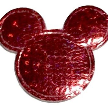 Red holographic Minnie Mouse 30x25mm padded appliqué