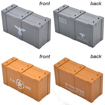 10pcs/lot MOC WW2 German US Army Printed Weapons Guns Crates Box Case Building Blocks Toys