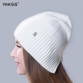 2016 newest fashion elegant pure ribbon striped cashmere Ms. hat letters  beanies gorros