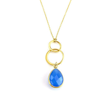Mediterranean Blue Drop Necklace