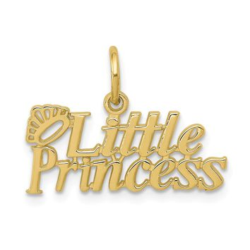 10K Yellow Gold Little Princess With Crown Charm