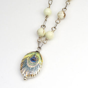 """Peacock feather necklace with lemon chrysoprase beads 18 1/2"""" long 46cm"""
