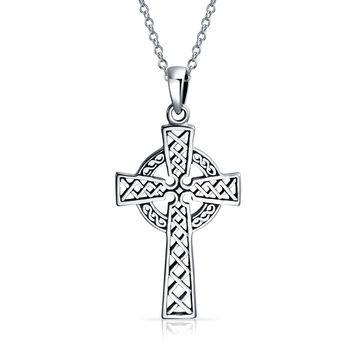 Celtic Trinity Cross Knot Pendant Sterling Silver Necklace Chain 1 5