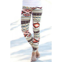 Vintage Colorful Geometric Printed High Waist Bodycon Leggings For Women